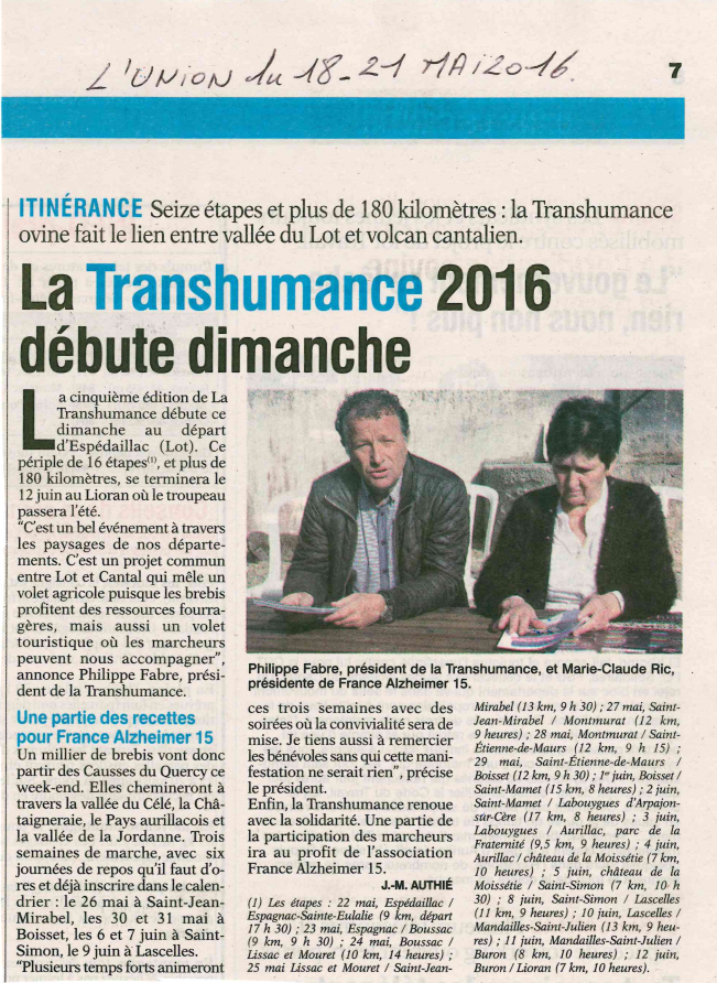 Article de l'Union du Cantal